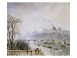 The Louvre and the Seine from the Pont Neuf, Morning Mist, 1902 Print by Camille Pissarro