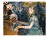 Lucie Leon at the Piano, circa 1892 Art by Berthe Morisot