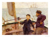The Steering Lesson Premium Giclee Print by Henry Scott Tuke