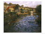 La Passerelle: a French River Landscape with a Washerwoman Print by Fritz Thaulow