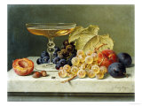 A Glass of Champagne, Grapes Plums and a Peach on a Marble Ledge Giclee Print by Emilie Preyer