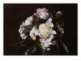 Peonies, White Carnations and Roses, 1874 Giclee Print by Henri Fantin-Latour