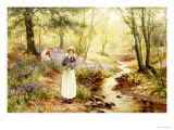 Picking Bluebells Giclee Print by Ernest Walbourn