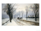 An Extensive Winter Landscape with a Horse and Cart, 1882 Giclee Print by Anders Andersen-Lundby