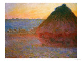 Haystacks, Pink and Blue Impressions, 1891 Impressão giclée premium por Claude Monet