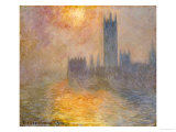 Parliament at Sunset, 1904 Reproduction procédé giclée par Claude Monet