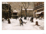 A Winter Street Scene, Paris Prints by Luigi Loir