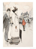A Couple Waiting for a Bus Giclee Print by Th&#233;ophile Alexandre Steinlen