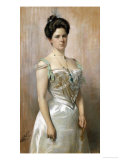 Portrait of a Lady, Standing in in a White Satin Dress Prints by Christian Meyer Ross