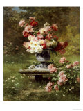 Peonies in an Urn in a Garden Premium Giclee Print by Louis Lemaire