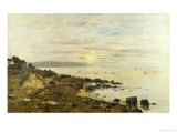 Cliffs at Benerville, Sunset, 1897 Giclee Print by Eugène Boudin
