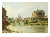 The Tiber with the Castel Sant'angelo and St.Peter's, Rome Giclee Print by Antoinietta Brandeis