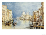 The Grand Canal, Venice, with Gondolas and Figures in the Foreground, circa 1818 Giclee-trykk av J. M. W. Turner