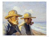 Two Skagen Fishermen, 1907 Gicléetryck av Michael Peter Ancher