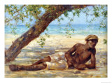Samuel Under a Tree, Jamaica Reproduction procédé giclée par Henry Scott Tuke