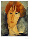 A young Woman with a Reddish Brown Collar Posters by Amedeo Modigliani