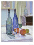 Blue and Green Bottles and Oranges Giclee Print by Spencer Frederick Gore