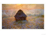 Haystacks, Sun on the Mist Giclee Print by Claude Monet