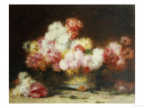 Chrysanthemum and Other Flowers in a Bowl Giclee Print by Achille Zo