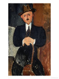 Seated Man (Leaning on a Cane), 1918 Giclee Print by Amedeo Modigliani