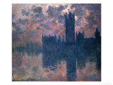 Parliament, Sunset, 1902 Premium Giclee Print by Claude Monet