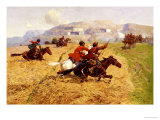 Cossacks Charging Into Battle Giclee Print by Franz Roubaud