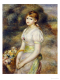 Young Girl with a Basket of Flowers Prints by Pierre-Auguste Renoir