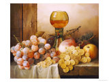 Grapes, Apple, Plums and Peach with Hock Glass on Draped Ledge Giclee Print by Edward Ladell