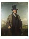 A Portrait of Robert Baird of Auchmedden, in a Grey Coat, Black Suit and a Top Hat Giclee Print by John Watson Gordon