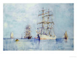 Moored Clippers, 1914 Prints by Henry Scott Tuke