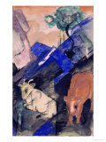 Two Cattle in a Hilly Landscape, 1913 Prints by Franz Marc