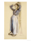 Country Girl Leaning Against a Tree, circa 1893 Giclee Print by Camille Pissarro