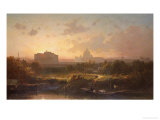 View of Rome at Sunset with St. Peter's and Castel S. Angelo Giclee Print by Antoine Ponthus-cinier