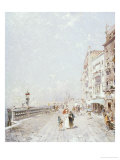 The Molo, Venice, Looking West with Figures Promenading Giclee Print by Franz Richard Unterberger