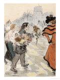 A Street Scene with Flower Vendors Reproduction procédé giclée par Théophile Alexandre Steinlen