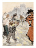 A Street Scene with Flower Vendors Giclee Print by Th&#233;ophile Alexandre Steinlen
