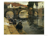 Washerwomen in the Morning at Quimperle, 1902 Reproduction procédé giclée par Fritz Thaulow