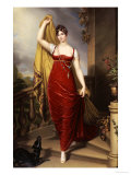 The Hon. Mrs Thomas Hope, Full Face in a Red Velvet Dress, Painted 1813 Giclee Print by Henry Bone