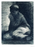 A Young Man Crouching, circa 1882 Poster by Georges Seurat