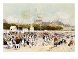 La Plage a Deauville Premium Giclee Print by Luigi Loir