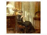 A Woman Sewing in an Interior Affischer av Carl Holsoe