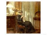 En kvinna syr i en interiör Affischer av Carl Holsoe