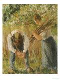 Farm Labourers Planting Stakes, 1902 Reproduction giclée Premium par Camille Pissarro