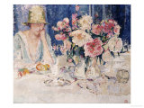 Femme a Table Chargee de Fleurs Print by Marcel Jefferys