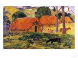 The Three Huts, Tahiti, 1891-92 Art by Paul Gauguin