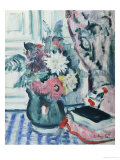 Mixed Dahlias in a Green Vase with a Book on a Chequered Tablecloth Giclee Print by George Leslie Hunter