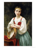 Basque Gipsy Girl with Tambourine Art by William Adolphe Bouguereau