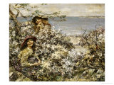 Two Girls Among Blossom, Brighouse Bay, 1915 Posters by Edward Atkinson Hornel