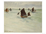 Fishing Boats on the Large de Pourville, 1882 Posters by Claude Monet