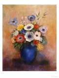 Bouquet of Flowers in a Blue Vase Poster von Odilon Redon